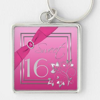 Roze en Zilveren Zoete Zestien Keychain Zilverkleurige Vierkante Sleutelhanger