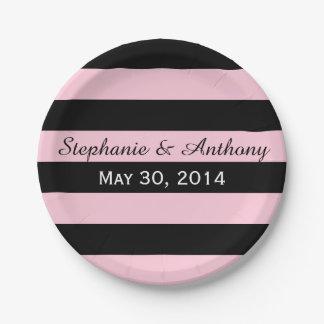 Roze en Zwart Gestreept Huwelijk Papieren Bordje