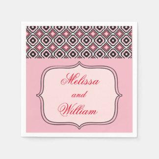 Roze en Zwart Patroon Papieren Servet