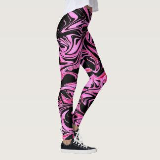 Roze en Zwart Vloeibaar Marmeren Patroon, Leggings