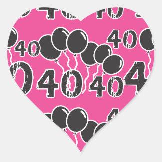 ROZE en ZWARTE 40ste Verjaardag - 40 yrs oude Bday Hart Sticker