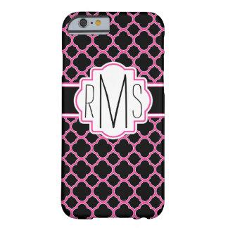 Roze en Zwarte Drievoudige iPhone 6 van Quatrefoil Barely There iPhone 6 Hoesje