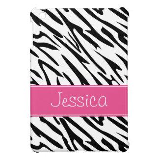 Roze en Zwarte Gestreepte Gepersonaliseerde Pern iPad Mini Case