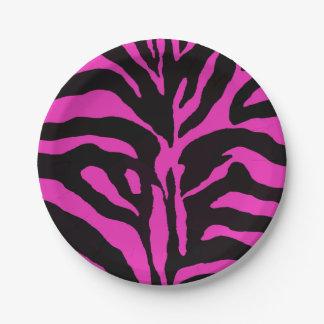 Roze en zwarte gestreepte moderne mode als papieren bordje