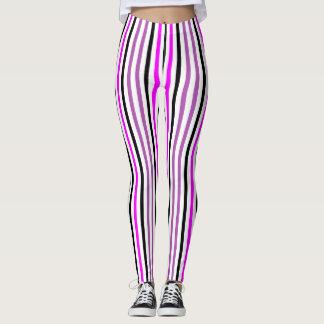 Roze en Zwarte Verticale Stripes2 Leggings