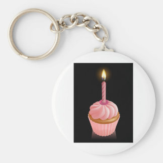 Roze feecake cupcake met verjaardagskaars sleutel hanger