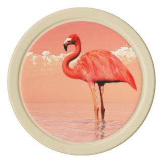 Roze flamingo in het 3D water - geef terug Pokerchips
