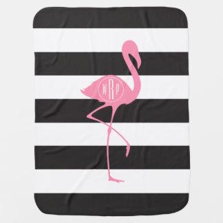 Roze Flamingo met monogram + Zwart + Witte Strepen Inbakerdoek