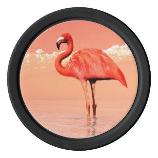 Roze flamingo pokerchips