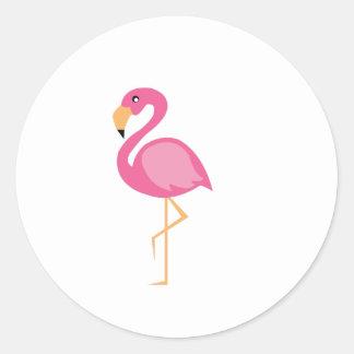 Roze Flamingo Ronde Stickers