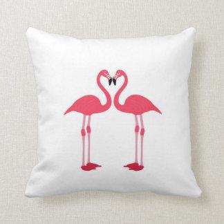 Roze flamingo-vogel-liefde-hart Kussen
