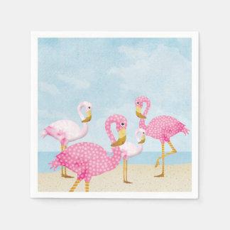 Roze Flamingo's op het Strand Papieren Servetten