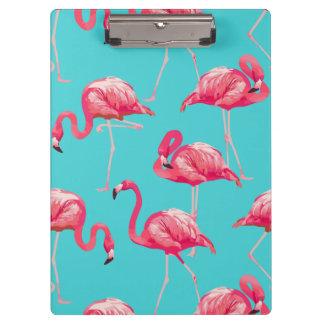 Roze flamingovogels op turkooise achtergrond klembord