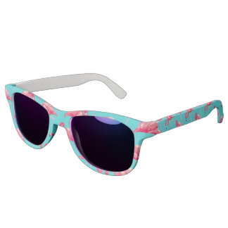 Roze flamingovogels op turkooise achtergrond zonnebril