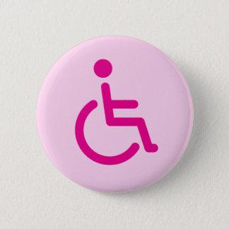 Roze gehandicapt symbool of handicapteken voor ronde button 5,7 cm