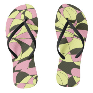 Roze, gele en zwarte camouflage teenslippers