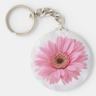 Roze Gerbera madeliefje Keychain Basic Ronde Button Sleutelhanger