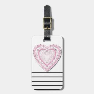 Roze Geregen Hart Bagagelabel