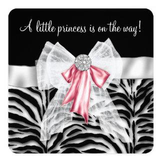 Roze Gestreept Baby shower 13,3x13,3 Vierkante Uitnodiging Kaart