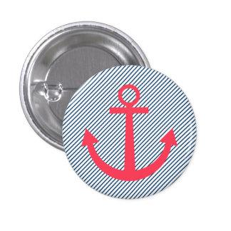 Roze gestreepte ankerknoop ronde button 3,2 cm