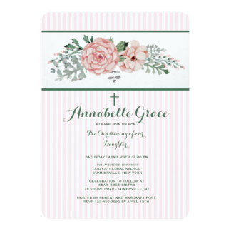 Roze Gestreepte BloemenUitnodiging 12,7x17,8 Uitnodiging Kaart