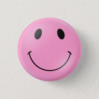 Roze Gezicht Smiley Ronde Button 3,2 Cm