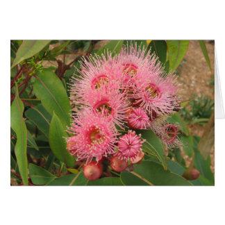 Roze gombloemen wenskaart