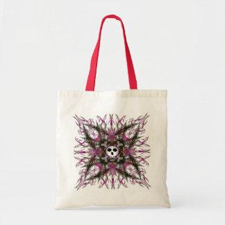 Roze Gotisch Fractal van de Schedel Canvas tas