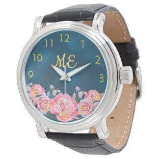 Roze gouden de aantallenblauw van pioenenbloemen horloges