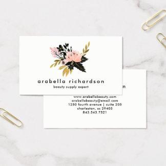 Roze Gouden en Zwarte Waterverf Bloemen Visitekaartjes