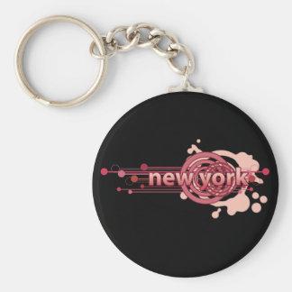 Roze Grafische Dark van New York Keychain van de C Sleutelhanger
