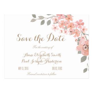 Roze & Grijze bloemen sparen de Datum Briefkaart