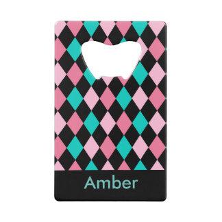 Roze Groen en Zwart diamant geometrisch ontwerp Creditkaart Flessenopener