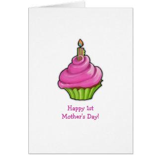 Roze & Groen Moederdag Cupcake eerste Kaart