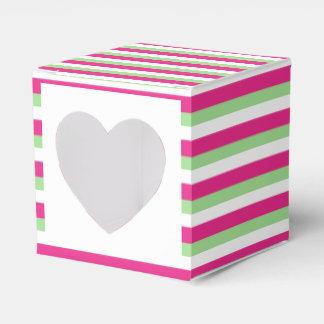 Roze groene gestreept van het huwelijk cupcake bedankjes doosjes