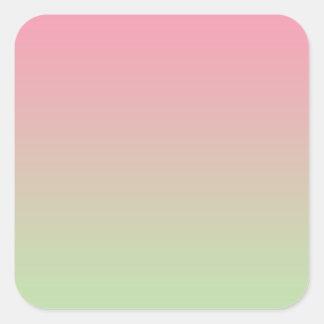 Roze & Groene Ombre Vierkante Sticker