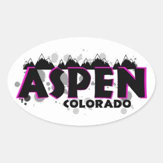 Roze grungeEsp Colorado van het neon Ovale Sticker