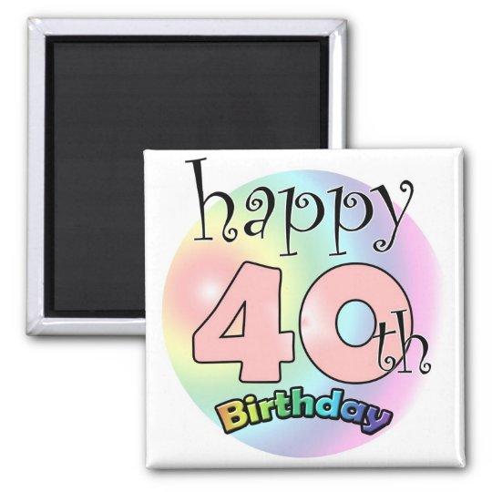 Roze Happy 40th Birthday Magneet