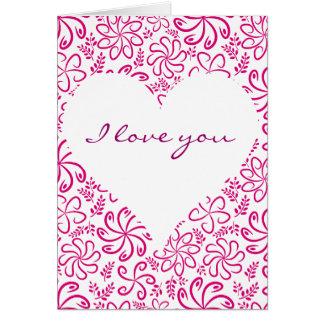 Roze hart met bloemenWenskaart Kaart
