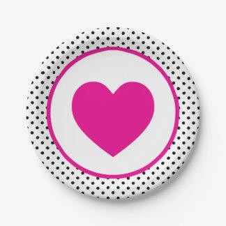 Roze Hart Polkadot Papieren Bordje