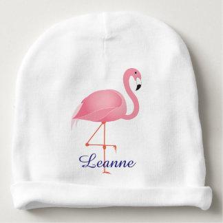 Roze het baby beanie pet van de Flamingo met naam Baby Mutsje