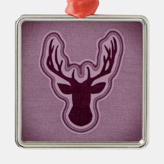 Roze het Gloeien van het Canvas Herten Zilverkleurig Vierkant Ornament