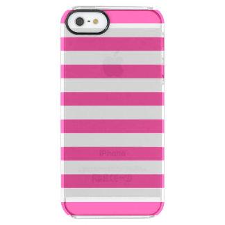 Roze Horizontale Strepen Doorzichtig iPhone SE/5/5s Hoesje