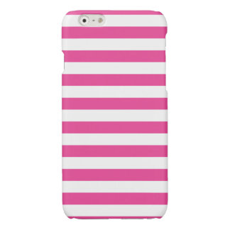 Roze Horizontale Strepen iPhone 6 Hoesje Glanzend