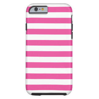 Roze Horizontale Strepen Tough iPhone 6 Hoesje