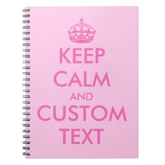 Roze houd Kalm notitieboekje   Gepersonaliseerde Ringband Notitieboek