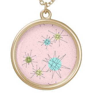 Roze Iconisch AtoomKetting Starbursts Goud Vergulden Ketting