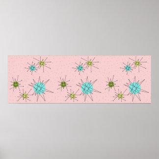 Roze Iconisch AtoomPoster Starbursts Poster