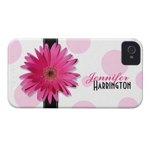 Roze iPhone 4 van de Stip van Gerbera Daisy Geval iPhone 4 Cases