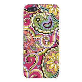Roze iPhone 4 van Paisley van de heup Gelukkige de iPhone 5 Hoesje